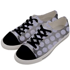 Circles1 White Marble & Silver Brushed Metal Men s Low Top Canvas Sneakers by trendistuff