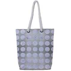 Circles1 White Marble & Silver Brushed Metal Full Print Rope Handle Tote (small) by trendistuff