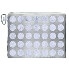 Circles1 White Marble & Silver Brushed Metal Canvas Cosmetic Bag (xxl) by trendistuff