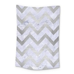 Chevron9 White Marble & Silver Brushed Metal (r) Small Tapestry by trendistuff