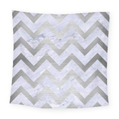 Chevron9 White Marble & Silver Brushed Metal (r) Square Tapestry (large) by trendistuff