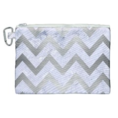 Chevron9 White Marble & Silver Brushed Metal (r) Canvas Cosmetic Bag (xl)