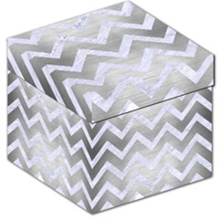 Chevron9 White Marble & Silver Brushed Metal Storage Stool 12   by trendistuff