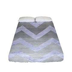 Chevron9 White Marble & Silver Brushed Metal Fitted Sheet (full/ Double Size) by trendistuff