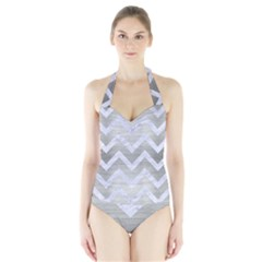 Chevron9 White Marble & Silver Brushed Metal Halter Swimsuit by trendistuff