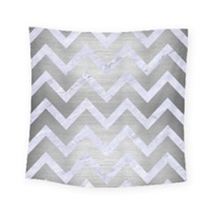 Chevron9 White Marble & Silver Brushed Metal Square Tapestry (small) by trendistuff