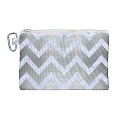 Chevron9 White Marble & Silver Brushed Metal Canvas Cosmetic Bag (large) by trendistuff