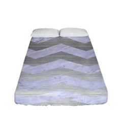 Chevron3 White Marble & Silver Brushed Metal Fitted Sheet (full/ Double Size) by trendistuff