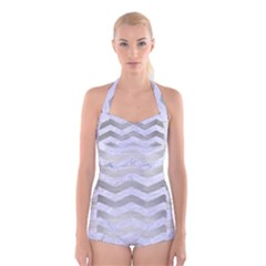 Chevron3 White Marble & Silver Brushed Metal Boyleg Halter Swimsuit