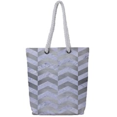 Chevron2 White Marble & Silver Brushed Metal Full Print Rope Handle Tote (small) by trendistuff