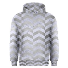Chevron2 White Marble & Silver Brushed Metal Men s Overhead Hoodie