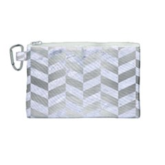 Chevron1 White Marble & Silver Brushed Metal Canvas Cosmetic Bag (medium) by trendistuff