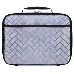 Brick2 White Marble & Silver Brushed Metal (r) Full Print Lunch Bag by trendistuff