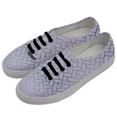 Brick2 White Marble & Silver Brushed Metal (r) Men s Classic Low Top Sneakers by trendistuff
