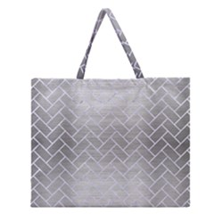 Brick2 White Marble & Silver Brushed Metal Zipper Large Tote Bag by trendistuff