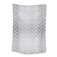 Brick2 White Marble & Silver Brushed Metal Small Tapestry by trendistuff
