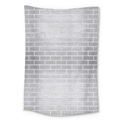 Brick1 White Marble & Silver Brushed Metal Large Tapestry by trendistuff