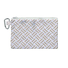 Woven2 White Marble & Sand (r) Canvas Cosmetic Bag (medium) by trendistuff