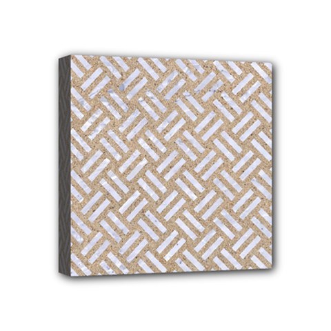 Woven2 White Marble & Sand Mini Canvas 4  X 4  by trendistuff