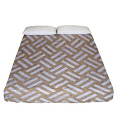 Woven2 White Marble & Sand Fitted Sheet (queen Size) by trendistuff