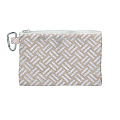 Woven2 White Marble & Sand Canvas Cosmetic Bag (medium) by trendistuff