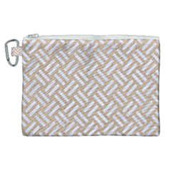 Woven2 White Marble & Sand Canvas Cosmetic Bag (xl) by trendistuff