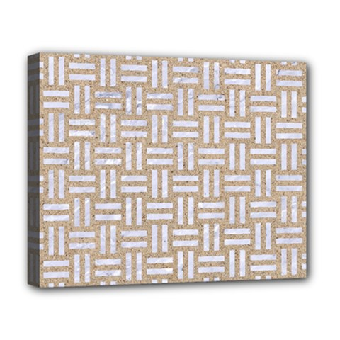 Woven1 White Marble & Sand Deluxe Canvas 20  X 16   by trendistuff