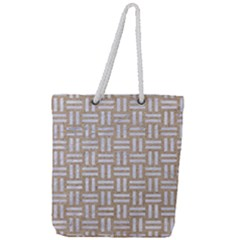 Woven1 White Marble & Sand Full Print Rope Handle Tote (large) by trendistuff