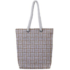 Woven1 White Marble & Sand Full Print Rope Handle Tote (small) by trendistuff