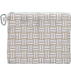 Woven1 White Marble & Sand Canvas Cosmetic Bag (xxxl) by trendistuff