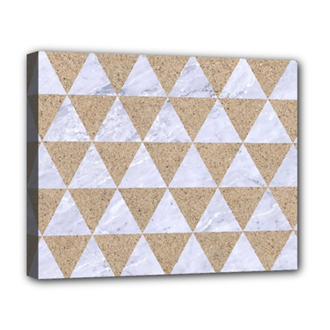 Triangle3 White Marble & Sand Deluxe Canvas 20  X 16   by trendistuff