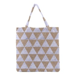 Triangle3 White Marble & Sand Grocery Tote Bag by trendistuff