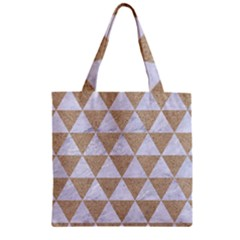 Triangle3 White Marble & Sand Zipper Grocery Tote Bag by trendistuff