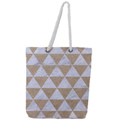Triangle3 White Marble & Sand Full Print Rope Handle Tote (large) by trendistuff