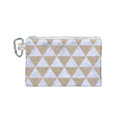 Triangle3 White Marble & Sand Canvas Cosmetic Bag (small) by trendistuff