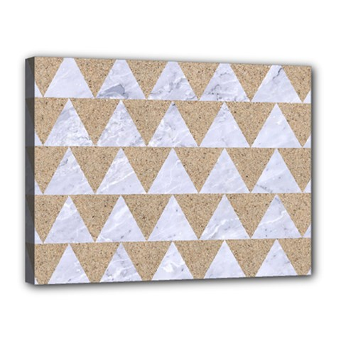 Triangle2 White Marble & Sand Canvas 16  X 12