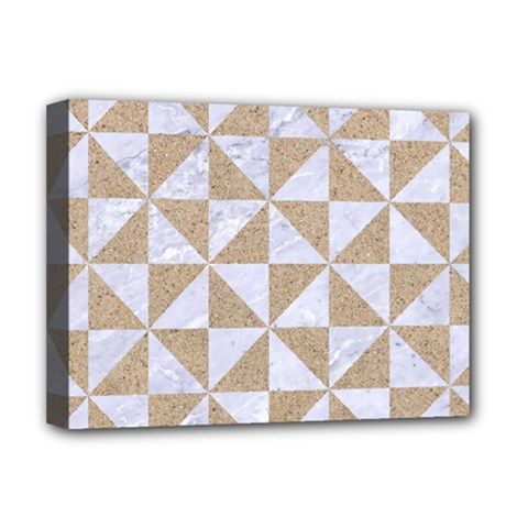 Triangle1 White Marble & Sand Deluxe Canvas 16  X 12   by trendistuff