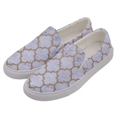 Tile1 White Marble & Sand (r) Men s Canvas Slip Ons by trendistuff