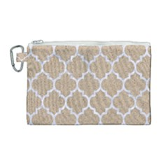 Tile1 White Marble & Sand Canvas Cosmetic Bag (large) by trendistuff