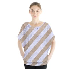 Stripes3 White Marble & Sand (r) Blouse by trendistuff
