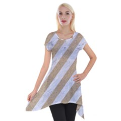 Stripes3 White Marble & Sand (r) Short Sleeve Side Drop Tunic by trendistuff
