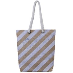 Stripes3 White Marble & Sand (r) Full Print Rope Handle Tote (small) by trendistuff