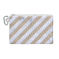 Stripes3 White Marble & Sand (r) Canvas Cosmetic Bag (large) by trendistuff