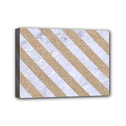 Stripes3 White Marble & Sand Mini Canvas 7  X 5  by trendistuff