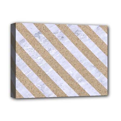 Stripes3 White Marble & Sand Deluxe Canvas 16  X 12   by trendistuff