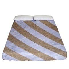 Stripes3 White Marble & Sand Fitted Sheet (queen Size) by trendistuff