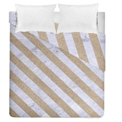 Stripes3 White Marble & Sand Duvet Cover Double Side (queen Size) by trendistuff