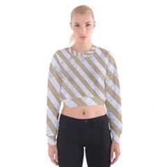 Stripes3 White Marble & Sand Cropped Sweatshirt by trendistuff