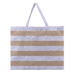 Stripes2white Marble & Sand Zipper Large Tote Bag by trendistuff
