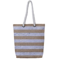 Stripes2white Marble & Sand Full Print Rope Handle Tote (small) by trendistuff